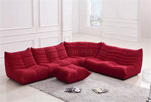 Red fabric modern sectional sofa w ottoman for Modern red fabric sectional sofa