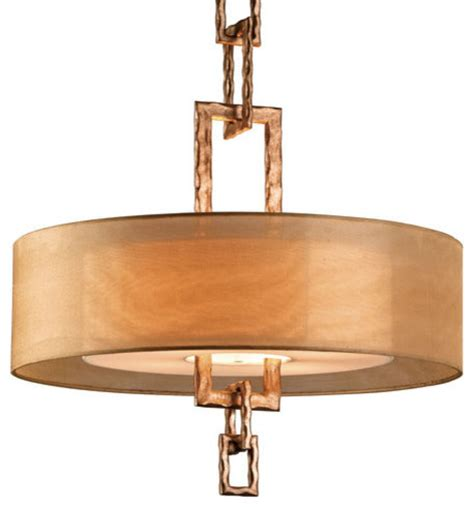 Chandelier With Sheer Drum Shade by Troy Lighting Link 4 Light 26 Quot Drum Chandelier In Bronze