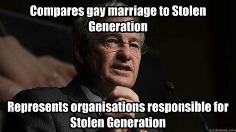 Stolen Memes - compares gay marriage to stolen generation represents