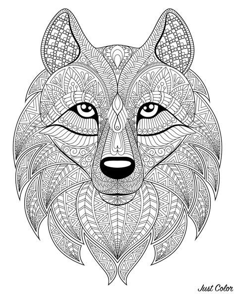 tete de loup  motifs complexes loups coloriages