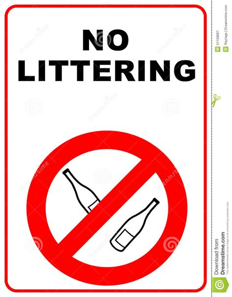 No Littering Sign Stock Illustration  Image 51158967