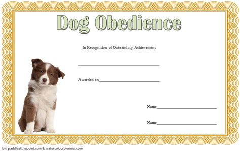 dog obedience certificate templates