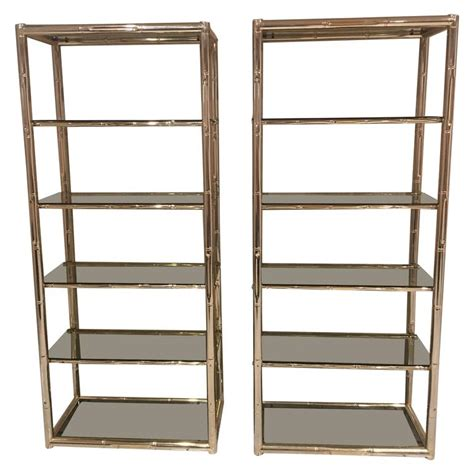 Glass Etagere Display by Pair Faux Bamboo Brass Etageres Glass Display Shelves