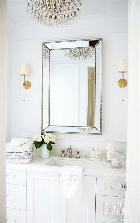 bathroom wall mirror cabinet glam transitional guest bathroom reveal with marble