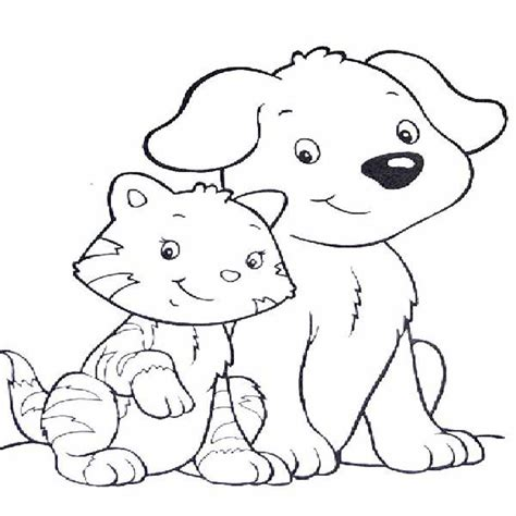 coloring pages dog  cat printable cute pictures