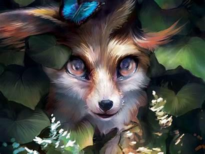 Cute Fox Background Butterfly Leaves Standard Wallpaperscraft