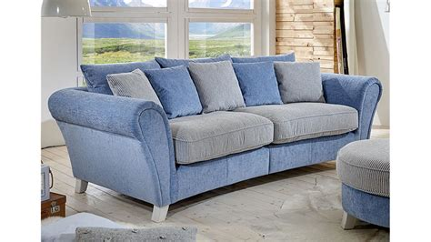 Spectra Sofa by Big Sofa Calia Martha Hellblau Spectra Creme 257x120