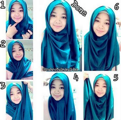gambar  memakai jilbab segi empat modern model hijab terbaru
