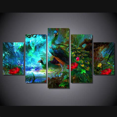 blue bathroom decor ideas framed print peacock colorful painting canvas home