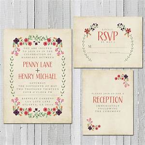Rustic spring wedding invitation rsvp card and for Wedding invitation free pick