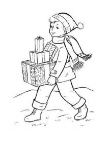 Boy is bringing Chritmas gifts to his famliy coloring page