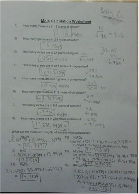 Mole Calculation Worksheet  Betty's Chemistry Blog