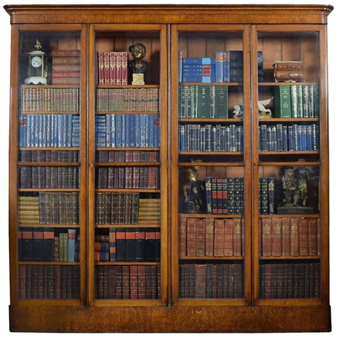Large Victorian Oak Fourdoor Glazed Library Bookcase At