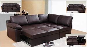 Looking classy elegant and stylish with leather sofa bed for Sectional sofa with hide a bed