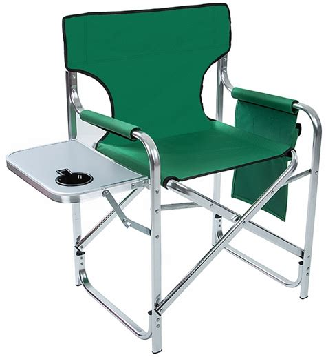 aluminum and canvas folding director s chair with side table by trademark innovations green 31
