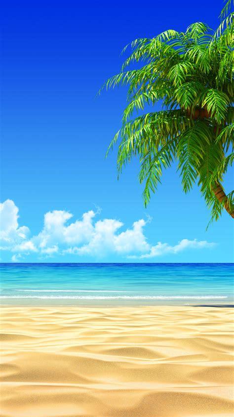tropical beach coconut tree illustration iphone   hd