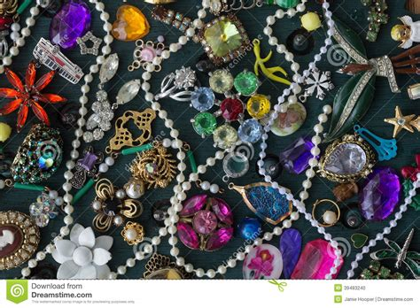 costume jewelry collage stock photo image  pearls