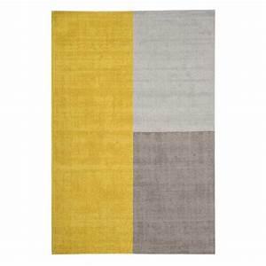 Tapis Jaune Et Gris : tapis moderne tricolore formes g om triques jaune et gris en laine ~ Teatrodelosmanantiales.com Idées de Décoration