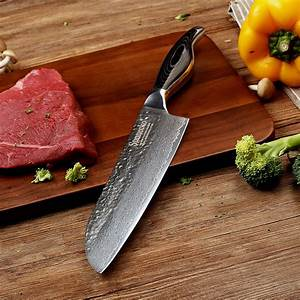 Sunnecko, 7, Inch, Santoku, Kitchen, Knife, Damascus, Steel, Razor, Sharp, Japanese, Kitchen, Knives, Pakka