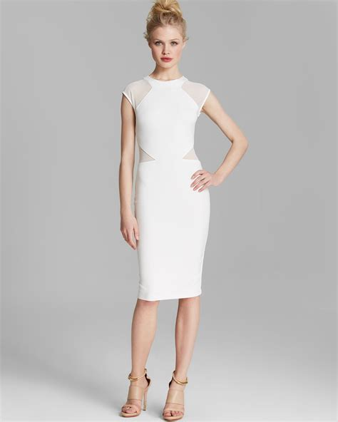 white dresses lyst connection dress vivien paneled jersey in