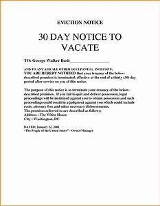 9 30 day eviction notice template cashier resume With free 30 day notice to vacate template