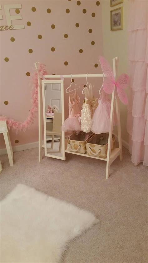 dress  wardrobe rack  mirror ivory toddlers clothing kids furniture   decoracao