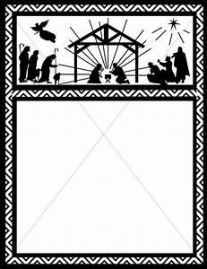 Orange Nativity Star Border | Christian Christmas Borders