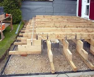 Holzdielen Für Terrasse : zementsockel als tr ger f r die holzaufbauten holzterrasse mit sichtschutz terrassen ~ Markanthonyermac.com Haus und Dekorationen