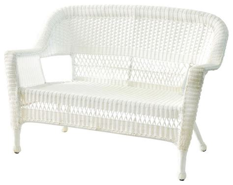 White Wicker Loveseat by Jeco Inc Jeco Inc Patio Decorative White Wicker Patio
