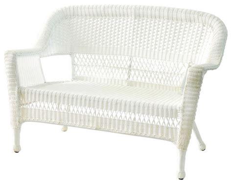 jeco inc patio decorative white wicker patio seat