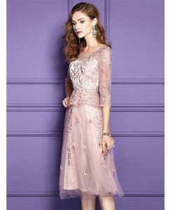 Pink lace knee length formal dress for wedding guests with for Formal wedding dress guest