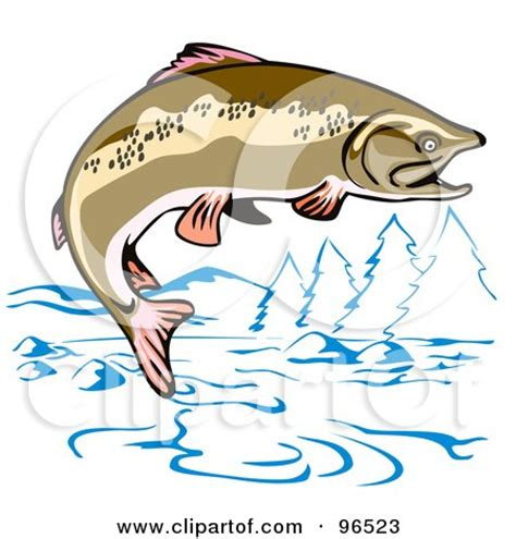 digital wall brown trout jumping out of the water of a mountainous