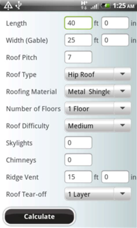 hip roof shingle calculator set metal roof estimating on the go at la metal roof