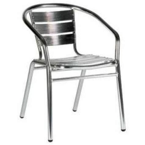 stacking outdoor arm chairs in aluminium cafe