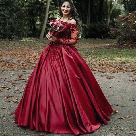 luxury lace beaded long sleeves dubai dark red wine