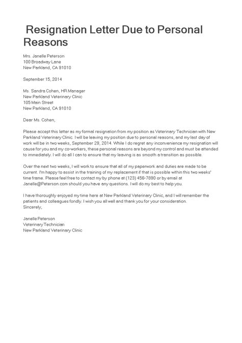 Due to Personal Reason Resignation Letter | Templates at allbusinesstemplates.com