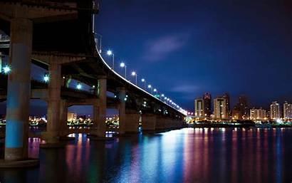 Night 4k Lights Bridge Ultra River Wallpapers