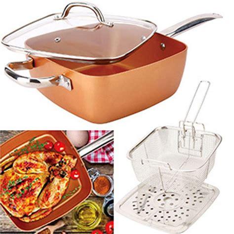 pcs square copper cookware pan set  group