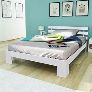 Lit 140 X 200 : acheter lit en bois de pin massif blanc 200 x 140 cm pas cher ~ Teatrodelosmanantiales.com Idées de Décoration
