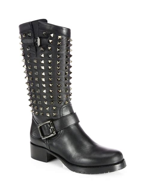 womens black leather moto boots valentino noir rockstud leather midcalf moto boots in