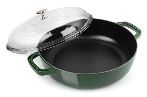 staub universal pan  domed glass lid  quart basil