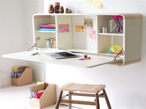 White Color Wall Mounted Folding Laptop Desk With Storage