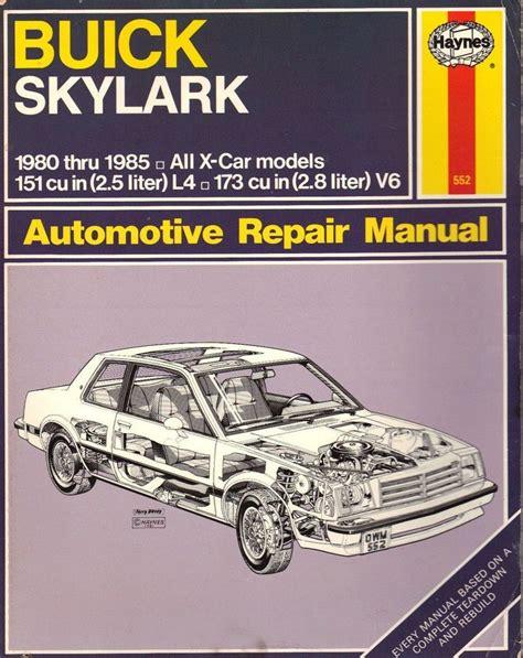 car repair manual download 1985 buick skyhawk transmission control buick skylark x cars 1980 to 1985 haynes automotive repair manual shop manual for these models