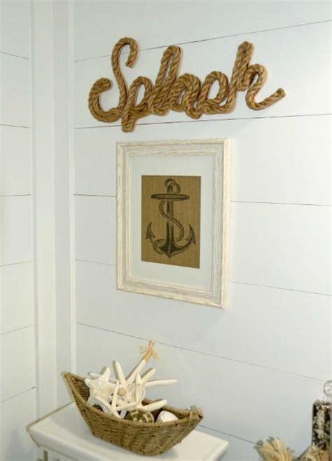 nautical beach bathroom  shiplap walls  fun wall decor httpwwwcompletely coastalcom