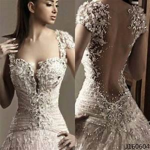 bling sexy sheer back white lace cap sleeve bridal wedding With wedding dresses with bling and lace