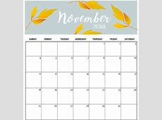 Free Download Printable October & November 2018 Calendar