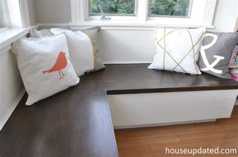 Banquette + Paint + Pillows = Eating Area All Done