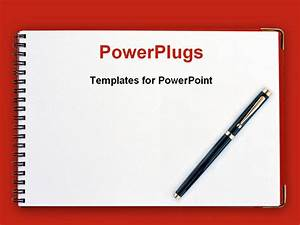 Powerpoint Template  Black Pen On Spiral Notebook With Red