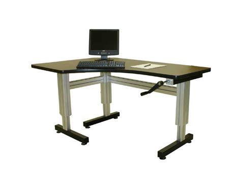 Offset Corner Hand Crank Adjustable Height Desks Ergosource