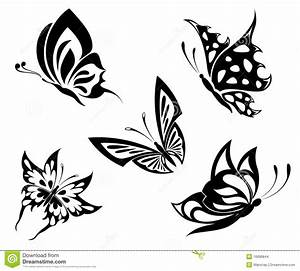 Set Black White Butterflies Of A Tattoo Stock Images ...